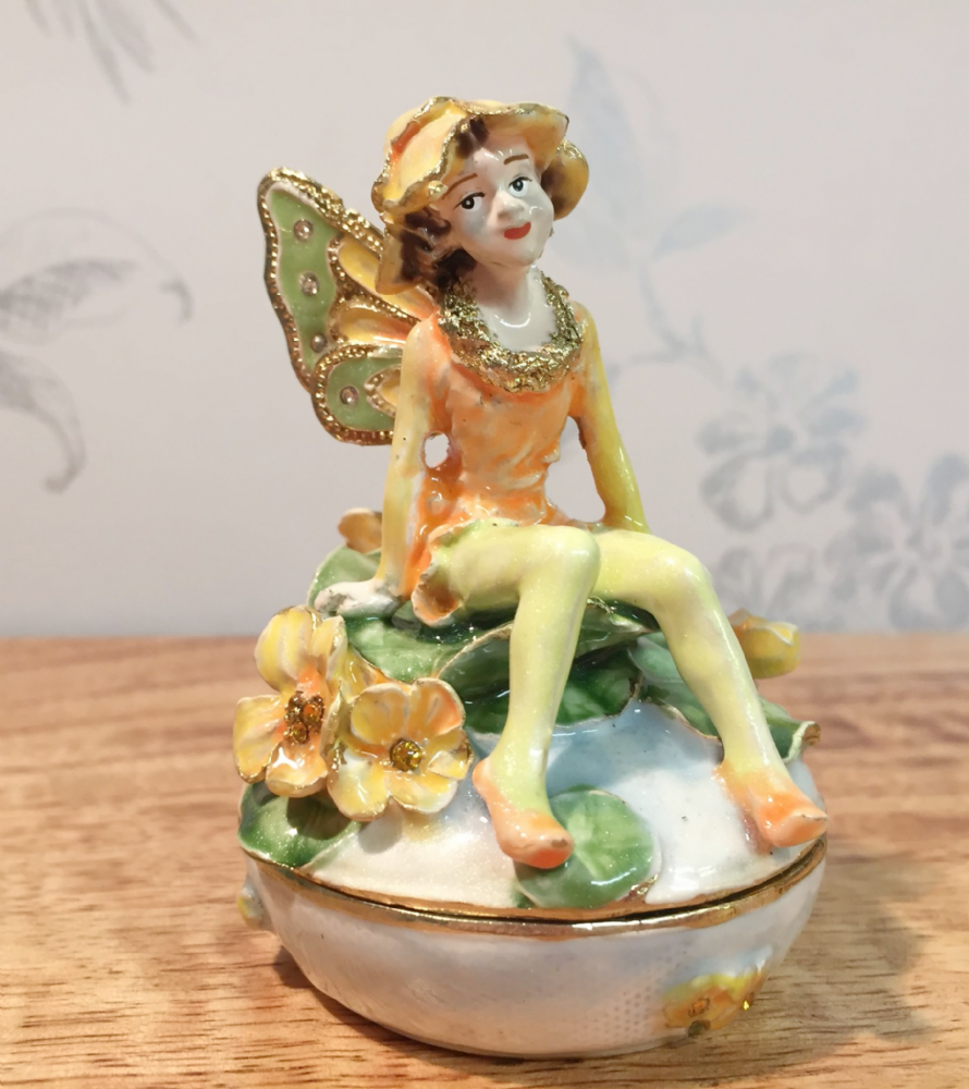 Green Orange & Yellow Fairy Metal & Enamel Trinket Box Jewellery Holder